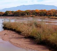 Rio Grande River and Sandia Mountains
